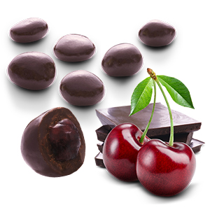 Cherries coated with dark chocolate