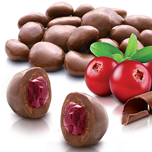 Cranberries coated with milk chocolate