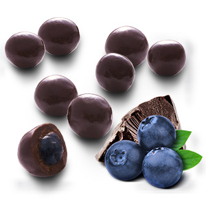Blueberries coated with dark chocolate