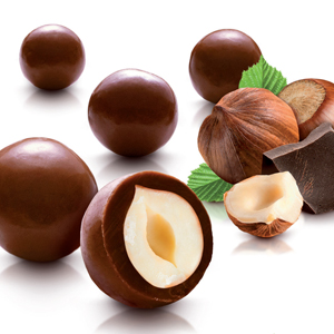 Hazelnuts coated with milk chocolate