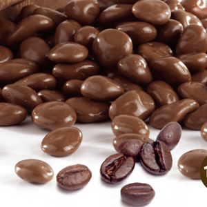 Coffee beans coated with milk chocolate